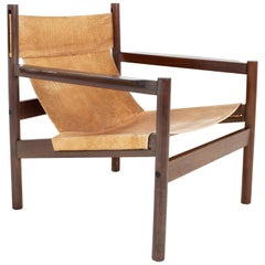Erik Worts Arne Norell Safari Style Mid Century Leather Sling Lounge Chair