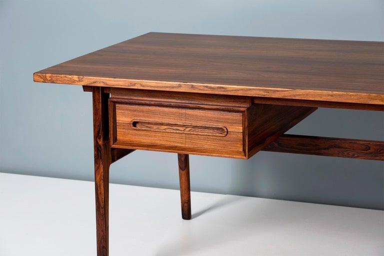 Scandinavian Modern Erik Worts Danish Rosewood Desk, circa 1960s For Sale