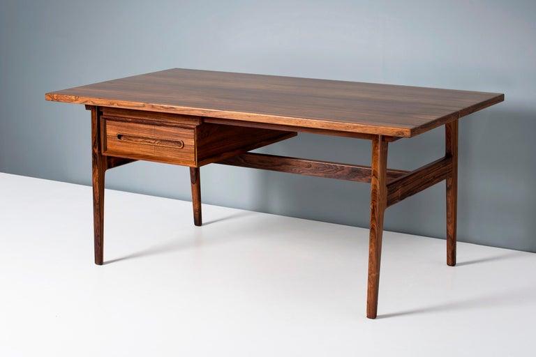 Erik Worts Danish Rosewood Desk, circa 1960s For Sale 1