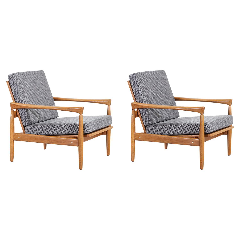 "Erik Worts ""Kolding"" Oak Lounge Chairs for IKEA"