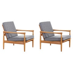 "Erik Worts ""Kolding"" Oak Lounge Chairs for IKEA"