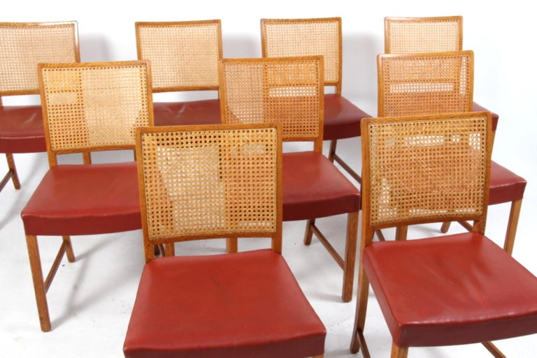 Astounding Erik Worts Nine Dining Chairs Oak Cane Red Leather 1950S Machost Co Dining Chair Design Ideas Machostcouk