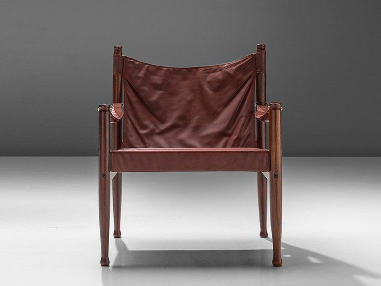 Scandinavian Modern Erik Wørts Safari Chair in Dark Brown Leather For Sale