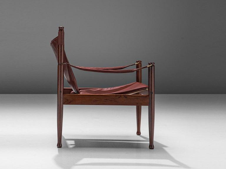 Danish Erik Wørts Safari Chair in Dark Brown Leather For Sale
