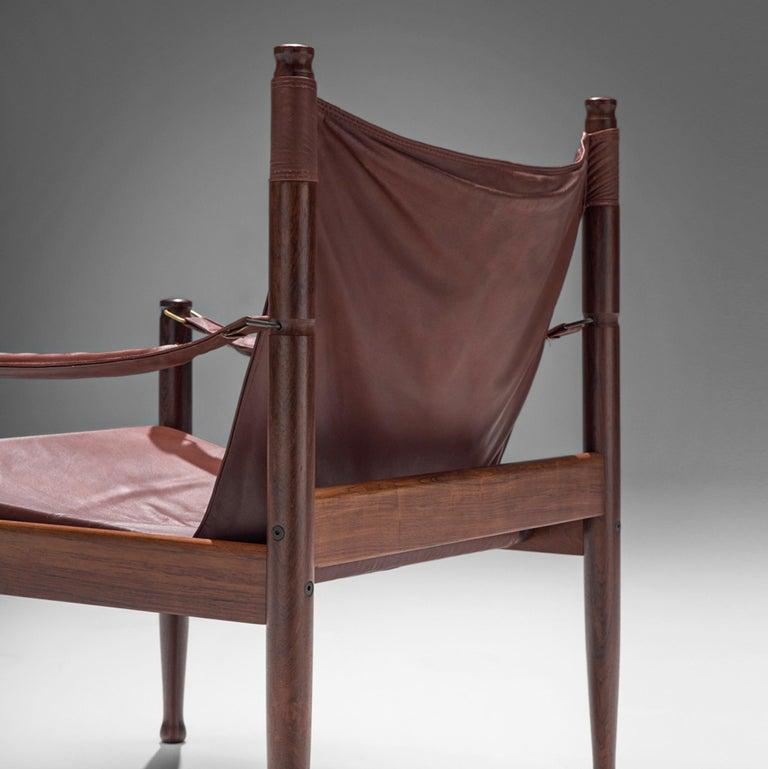 Erik Wørts Safari Chair in Dark Brown Leather In Good Condition For Sale In Waalwijk, NL