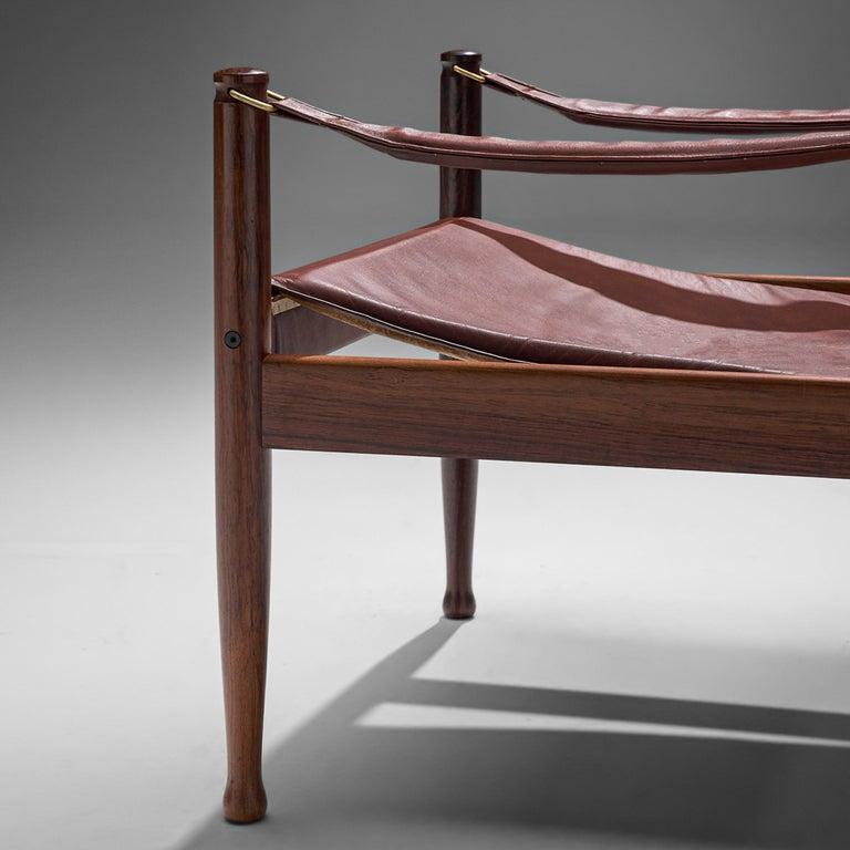 Late 20th Century Erik Wørts Safari Chair in Dark Brown Leather For Sale
