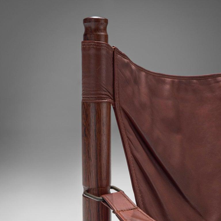 Erik Wørts Safari Chair in Dark Brown Leather For Sale 1