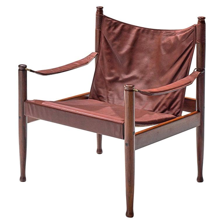 Erik Wørts Safari Chair in Dark Brown Leather For Sale