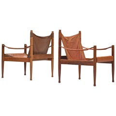 Erik Wørts Safari Chairs in Cognac Leather, 1960s