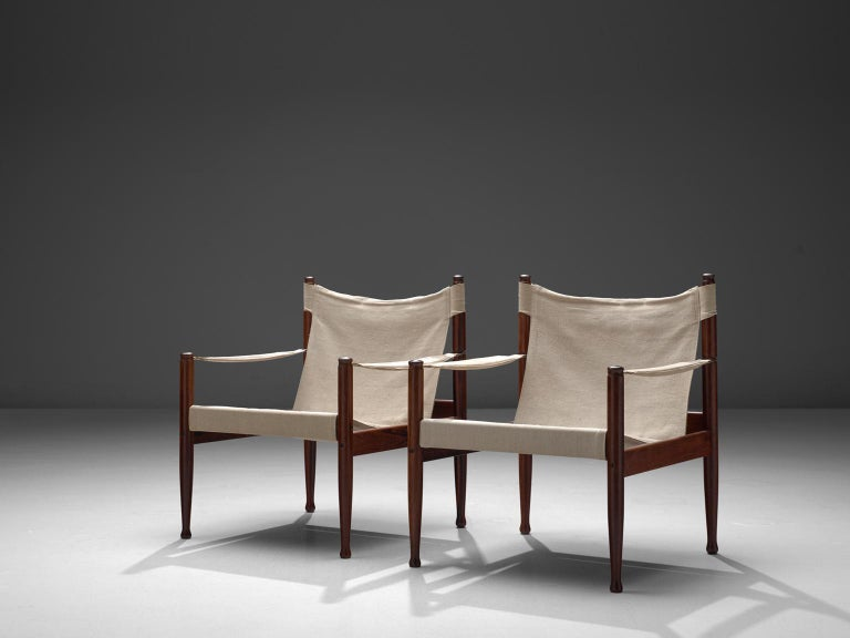 Erik W 248 Rts Safari Chairs In White Canvas 1960s For Sale