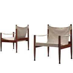 Erik Wørts Safari Chairs in White Canvas, 1960s