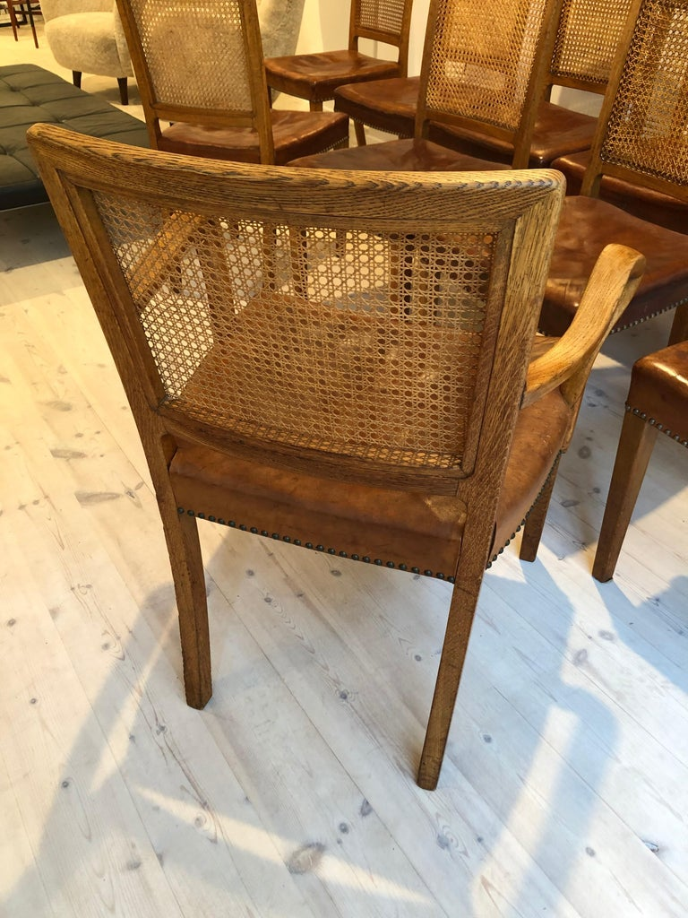 Erik Wørts Set of 12 Dining Chairs in Oak, Cane and Niger Leather, 1945 For Sale 5