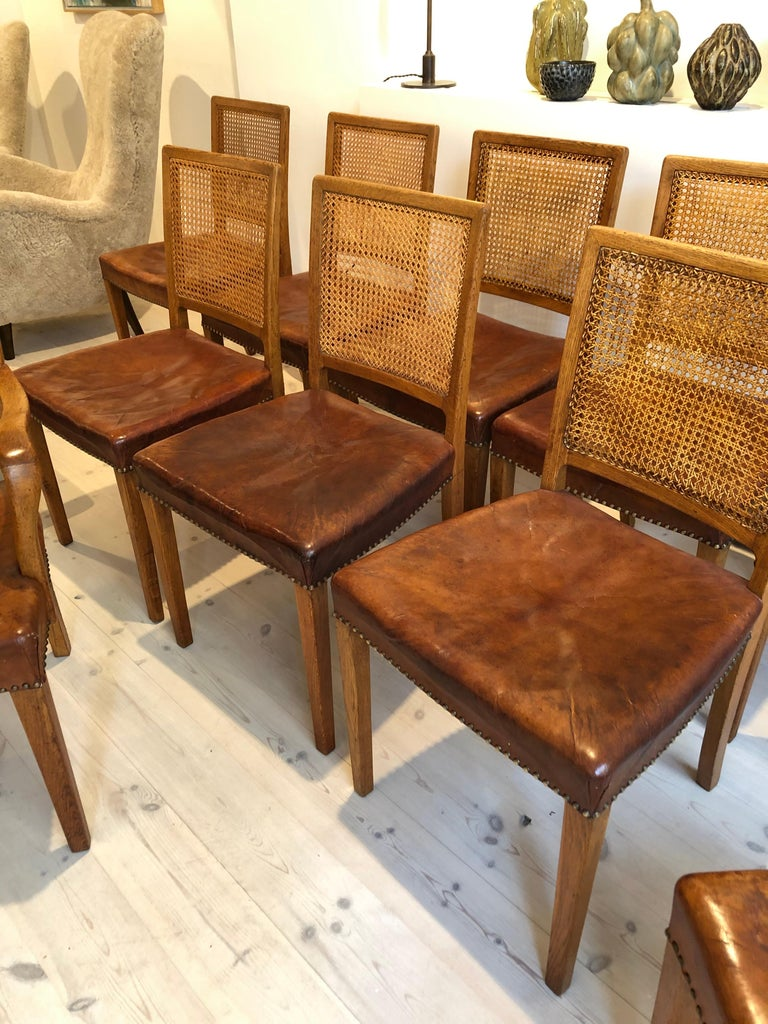 Erik Wørts Set of 12 Dining Chairs in Oak, Cane and Niger Leather, 1945 For Sale 8