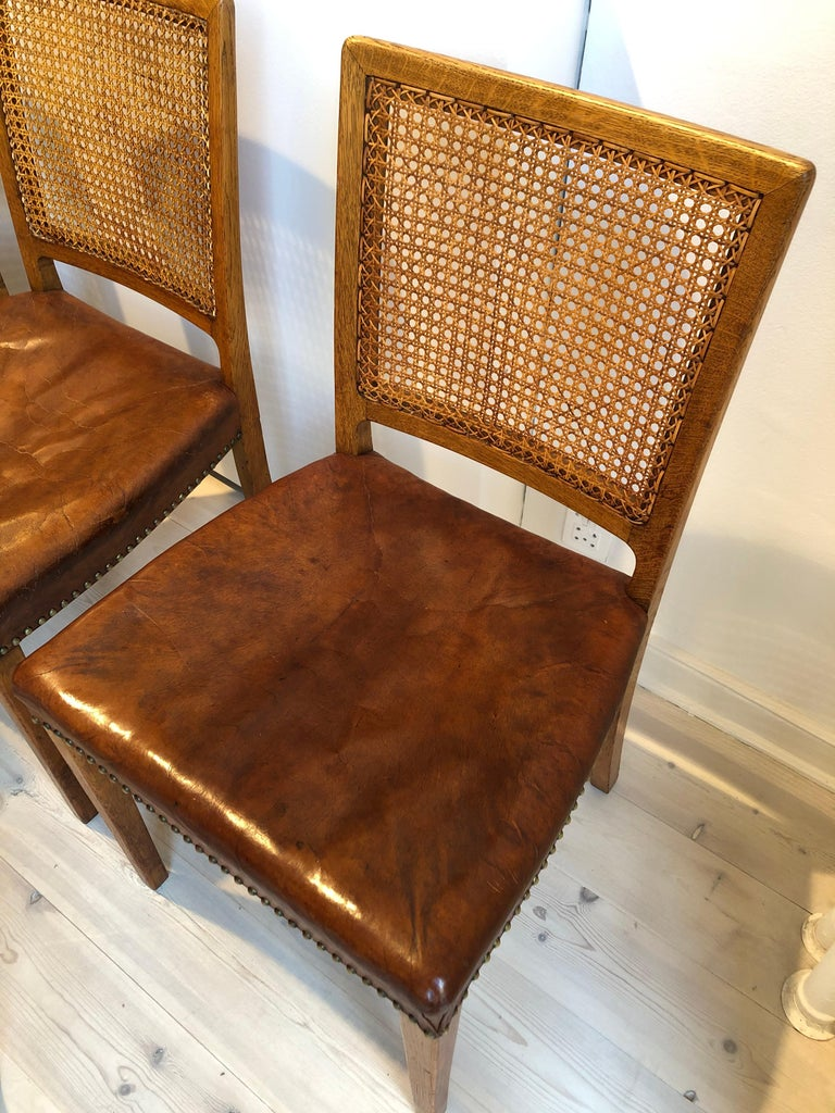 Erik Wørts Set of 12 Dining Chairs in Oak, Cane and Niger Leather, 1945 For Sale 9