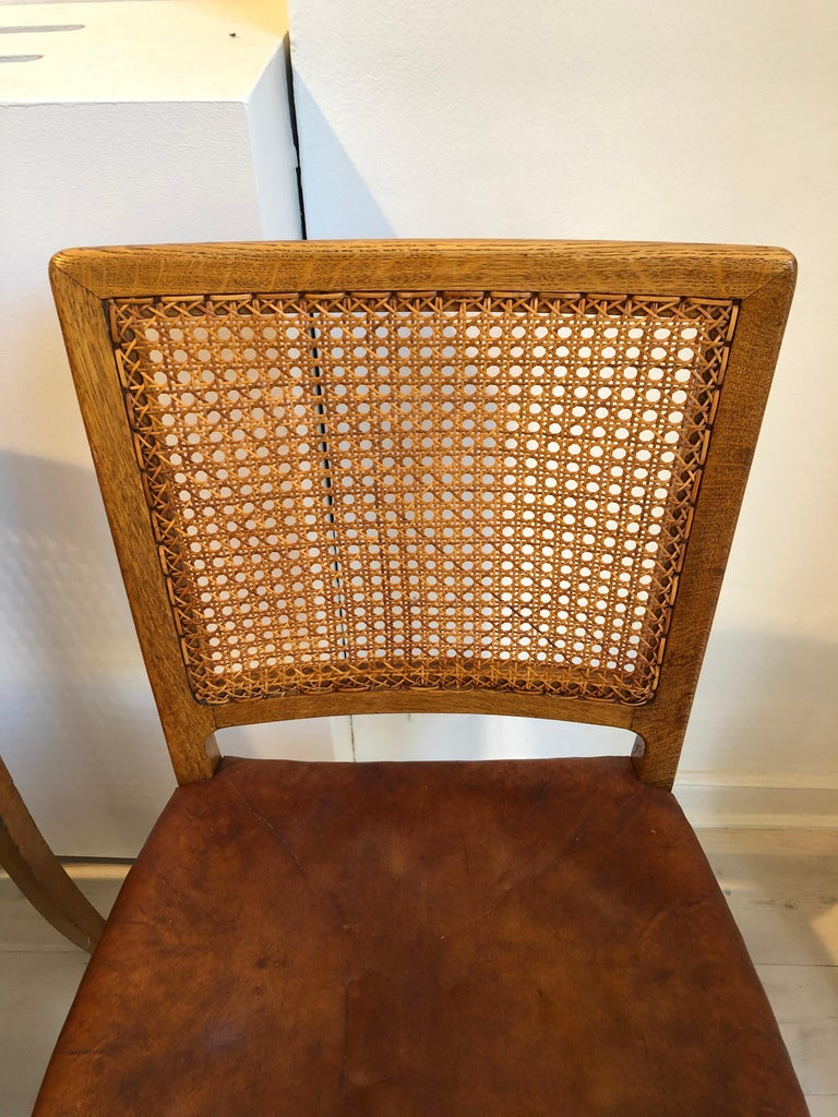 Erik Wørts Set of 12 Dining Chairs in Oak, Cane and Niger Leather, 1945 For Sale 10