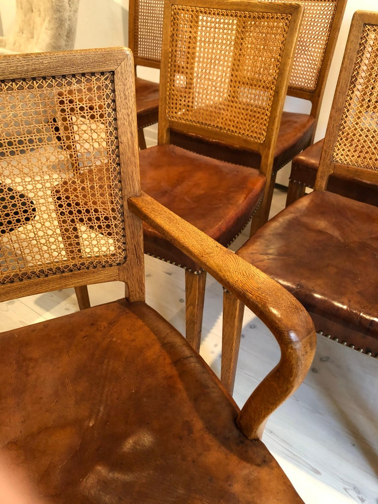 Erik Wørts Set of 12 Dining Chairs in Oak, Cane and Niger Leather, 1945 For Sale 2