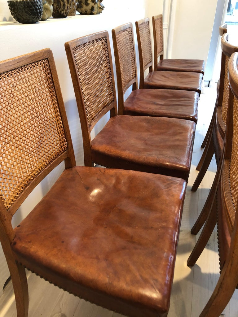 Erik Wørts Set of 12 Dining Chairs in Oak, Cane and Niger Leather, 1945 For Sale 11