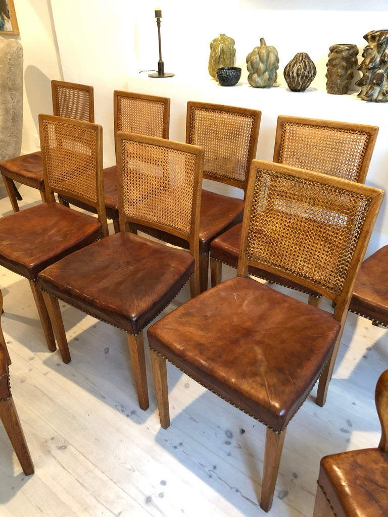Erik Wørts Set of 12 Dining Chairs in Oak, Cane and Niger Leather, 1945 For Sale 12