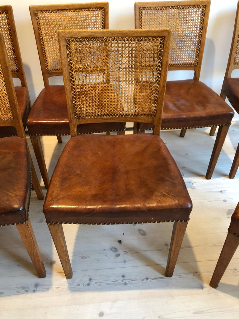 Erik Wørts Set of 12 Dining Chairs in Oak, Cane and Niger Leather, 1945 For Sale 13
