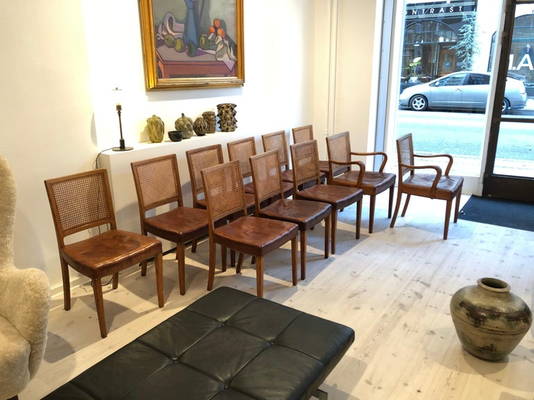 Erik Wørts Set of 12 Dining Chairs in Oak, Cane and Niger Leather, 1945 For Sale 14