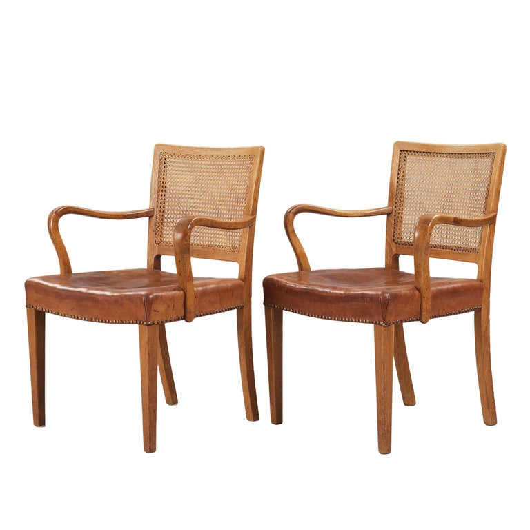 Scandinavian Modern Erik Wørts Set of 12 Dining Chairs in Oak, Cane and Niger Leather, 1945 For Sale