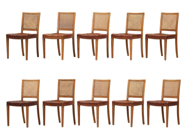 Erik Wørts Set of 12 Dining Chairs in Oak, Cane and Niger Leather, 1945 In Good Condition For Sale In Copenhagen, DK