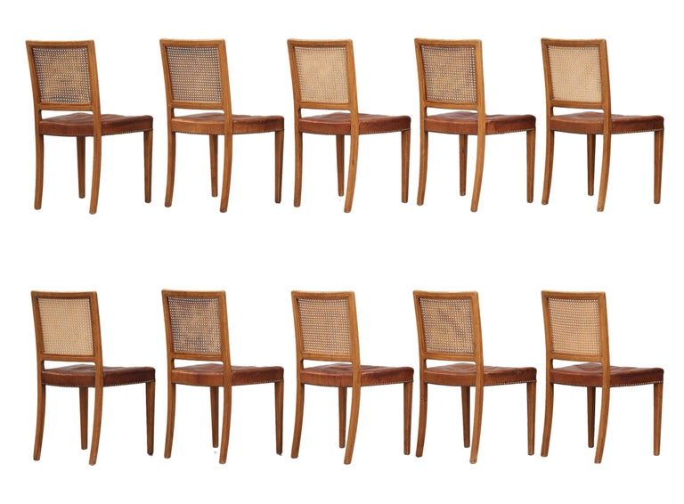 Mid-20th Century Erik Wørts Set of 12 Dining Chairs in Oak, Cane and Niger Leather, 1945 For Sale
