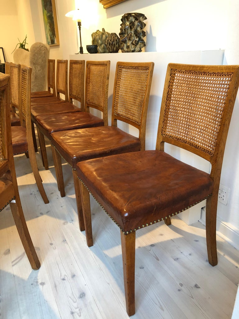 Erik Wørts Set of 12 Dining Chairs in Oak, Cane and Niger Leather, 1945 For Sale 3