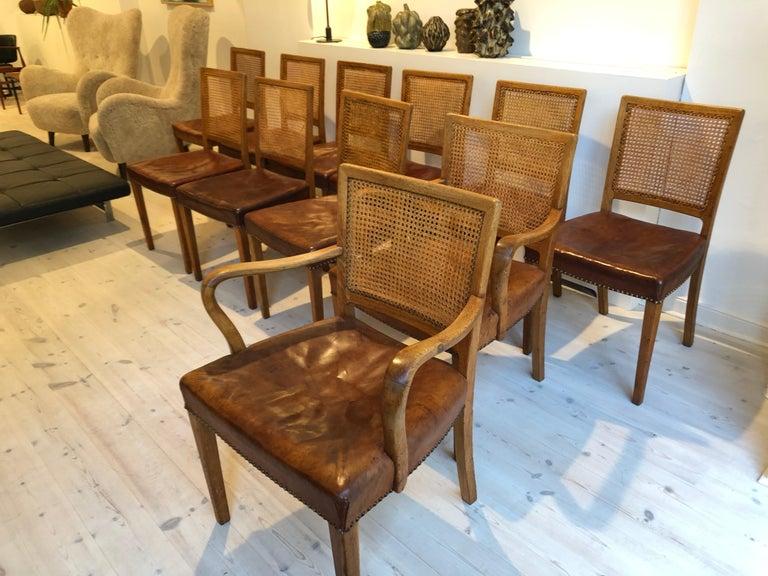 Erik Wørts Set of 12 Dining Chairs in Oak, Cane and Niger Leather, 1945 For Sale 1