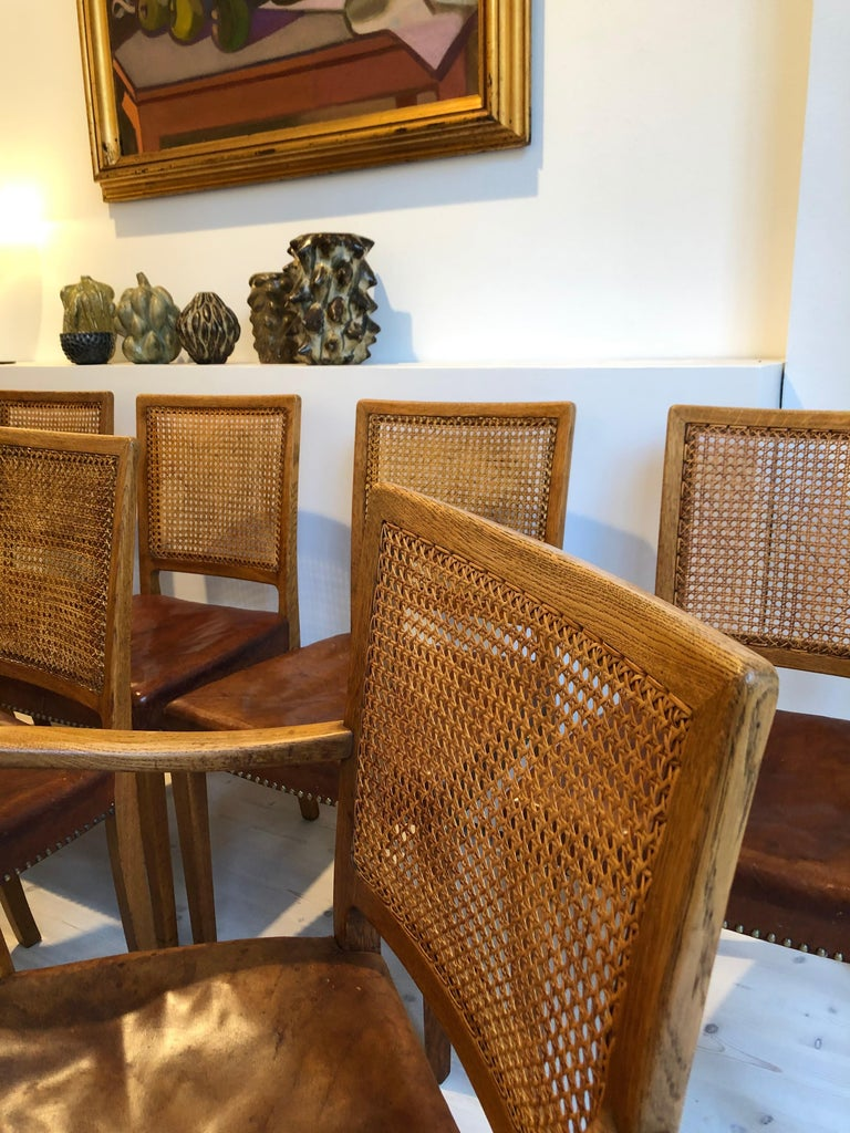 Erik Wørts Set of 12 Dining Chairs in Oak, Cane and Niger Leather, 1945 For Sale 4