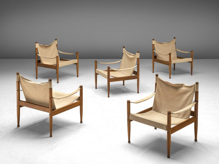 Erik Wørts, set of 5 Safari Chairs, oak and canvas, Denmark, 1960's