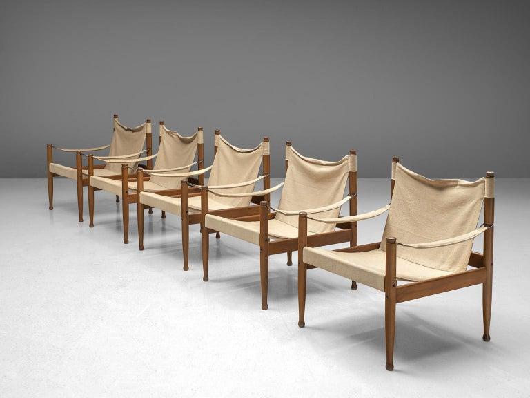 Mid-Century Modern Erik Wørts Set of Five Safari Chairs in Canvas, 1960s. For Sale