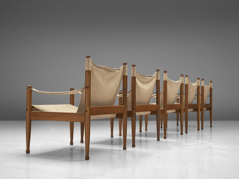 Danish Erik Wørts Set of Five Safari Chairs in Canvas, 1960s. For Sale
