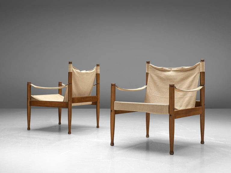 Erik Wørts Set of Five Safari Chairs in Canvas, 1960s. In Good Condition For Sale In Waalwijk, NL