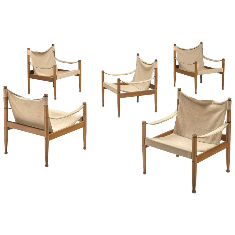Erik Wørts Set of Five Safari Chairs in Canvas, 1960s. For Sale