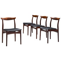 Erik Wørts Set of Four Rosewood Dining Chairs with Black Leather
