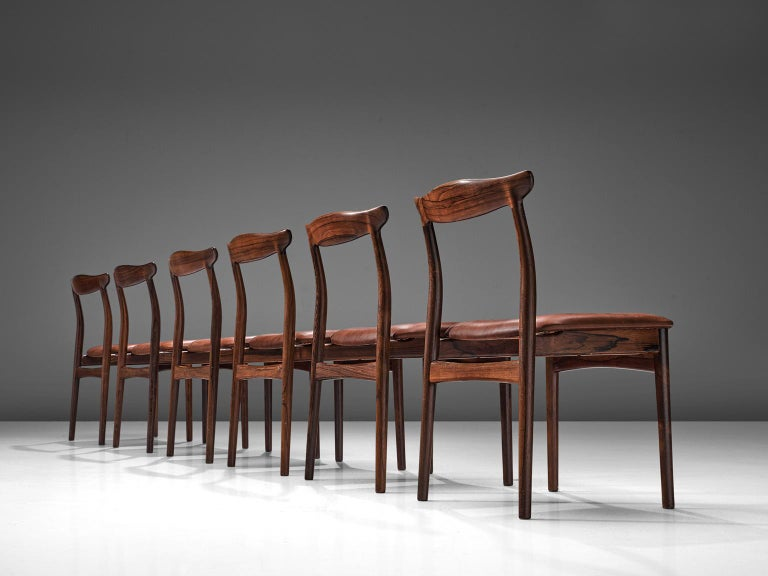 Scandinavian Modern Erik Wørts Set of Six Dining Room Chairs in Rosewood and Leather For Sale