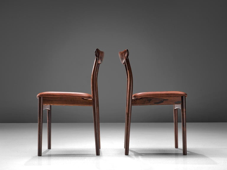 Danish Erik Wørts Set of Six Dining Room Chairs in Rosewood and Leather For Sale