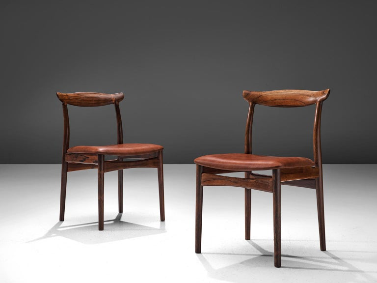Erik Wørts Set of Six Dining Room Chairs in Rosewood and Leather In Excellent Condition For Sale In Waalwijk, NL