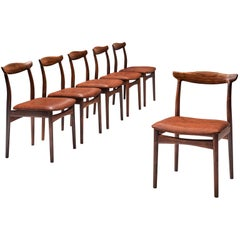 Erik Wørts Set of Six Dining Room Chairs in Rosewood and Leather