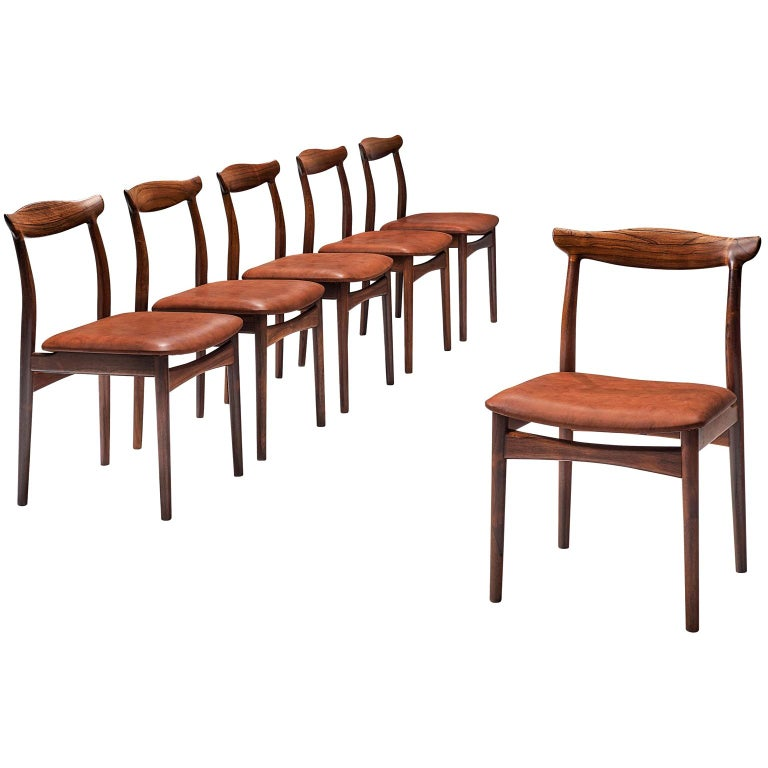 Erik Wørts Set of Six Dining Room Chairs in Rosewood and Leather For Sale