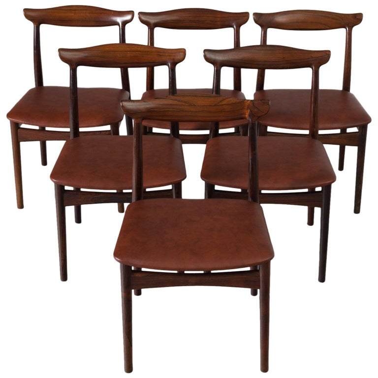 Erik Wørts Set of Six Dining Room Chairs in Rosewood and New Brown Leather