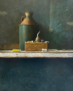 Clutter- 21st Century Contemporary Still-life painting with cutter plug