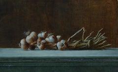Garlic Strand- 21st Century Contemporary Still-life painting garlic