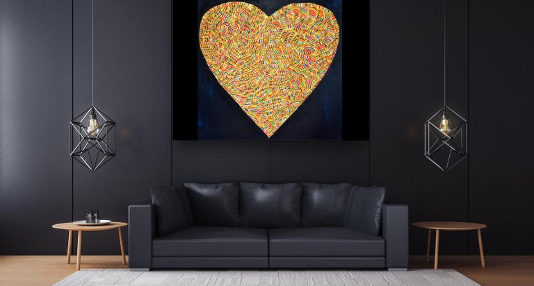 LOVE Painting with Plastic Technique by Erika Baktay For Sale 11