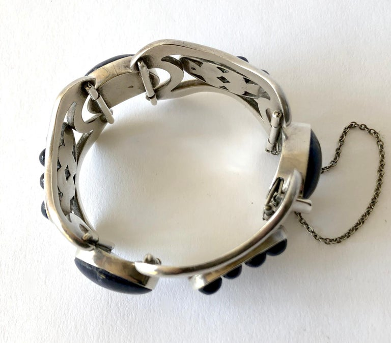 Erika Hult de Corral Mexican Modern Sterling Silver Sodalite Cabochon Bracelet In Good Condition For Sale In Los Angeles, CA