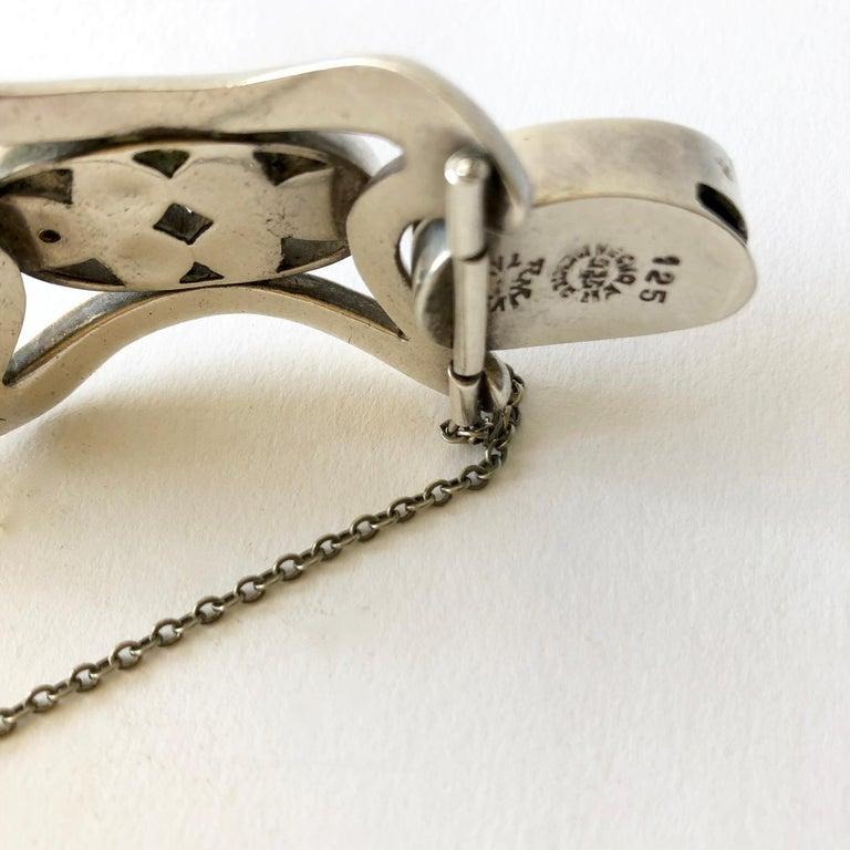 Erika Hult de Corral Mexican Modern Sterling Silver Sodalite Cabochon Bracelet For Sale 1