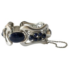 Erika Hult de Corral Mexican Modern Sterling Silver Sodalite Cabochon Bracelet