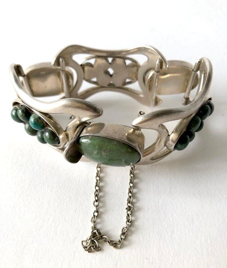 Modernist Erika Hult de Corral Mexican Sterling Silver Natural Gemstone Cabochon Bracelet For Sale