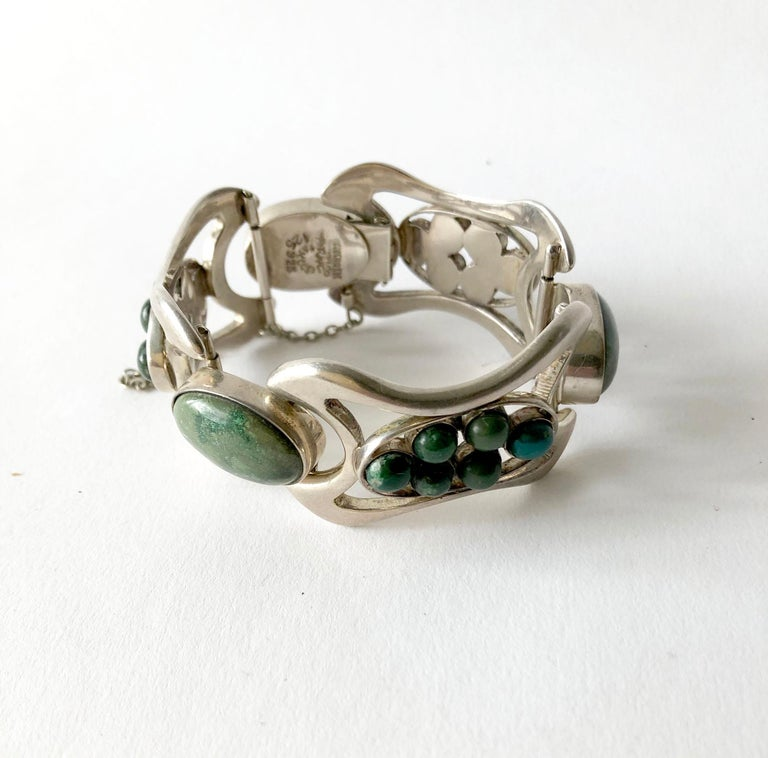 Erika Hult de Corral Mexican Sterling Silver Natural Gemstone Cabochon Bracelet In Good Condition For Sale In Los Angeles, CA